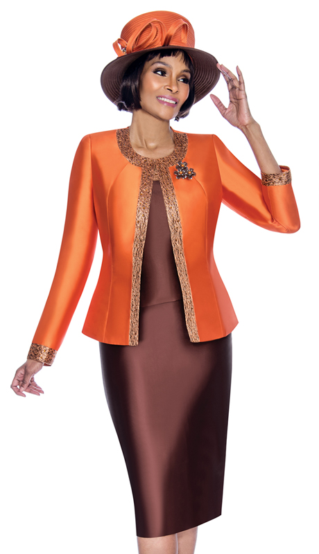 Terramina 7637-OB ( 3pc Silk Look Womens Sunday Suit With Pattern Trim Design And Brooch )