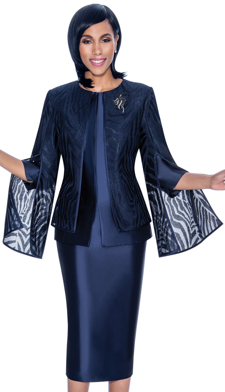 Terramina 7709-NA ( 2pc Silk Look Organza Ladies Church Suit With Layered Angel Sleeve Jacket )