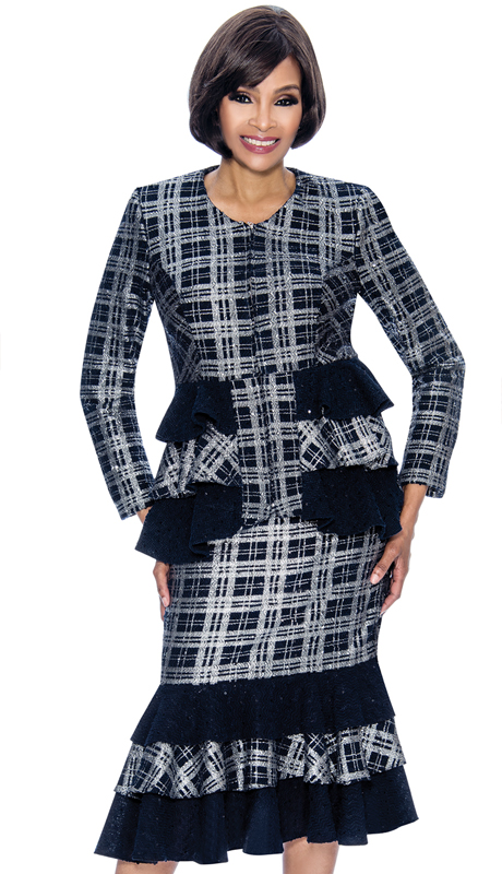 Terramina 7708-NS ( 2pc Boucle Knit Womens Sunday Suit With Flounce Skirt And Ruffle Design Jacket )