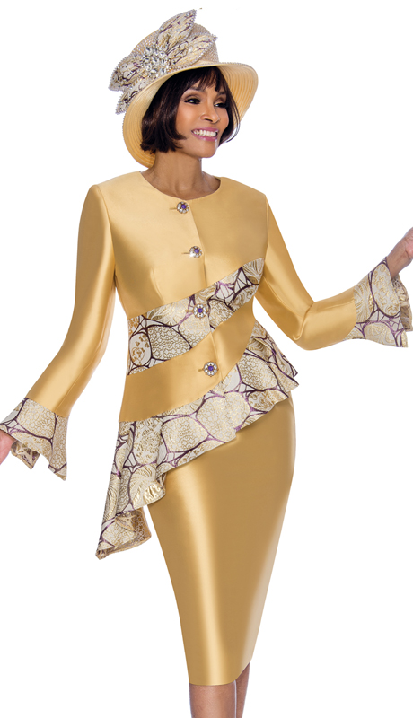 Terramina 7707-GO ( 2pc Silk Look With Brocade First Lady Suit With Bell Cuff Sleeves And Peplum Jacket )