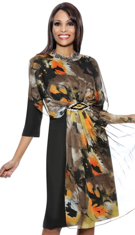 Terramina Dress 7340 ( Floral Print Gathered Draped Shawl 1pc Terramina Church Dress )