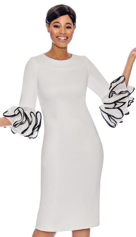 Terramina 7759-WH-CO ( 1pc Dress With Ruffle Sleeves )