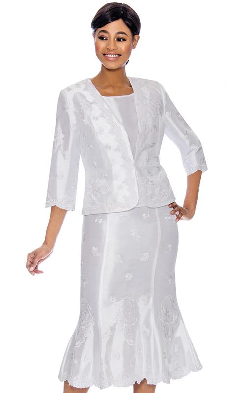 Terramina 7756-WH ( 3pc Skirt Suit )