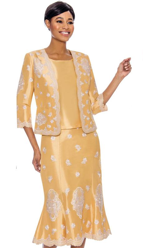 Terramina 7756-GO ( 3pc Skirt Suit )