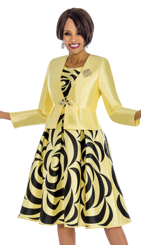Terramina 7672-YP-CO ( 2pc Silk Jacket Dress For Church With Unique Pattern Design )
