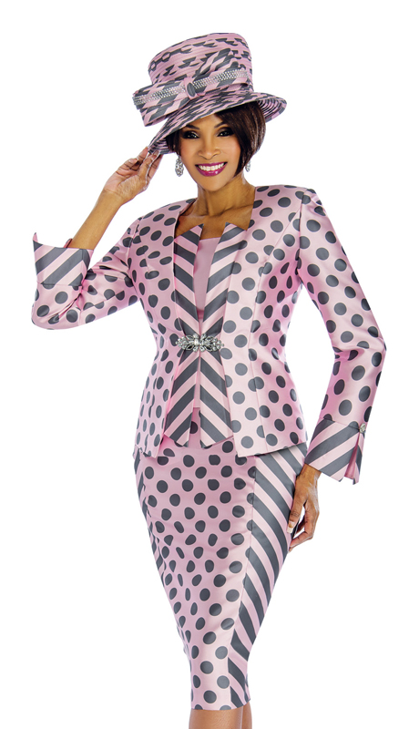 Terramina 7673 ( 3pc Silk Church Suit In Fancy Polka Dot Design )