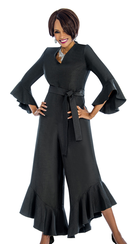 Terramina 7675-B ( 1pc Shantung Jump Suit With Flares )