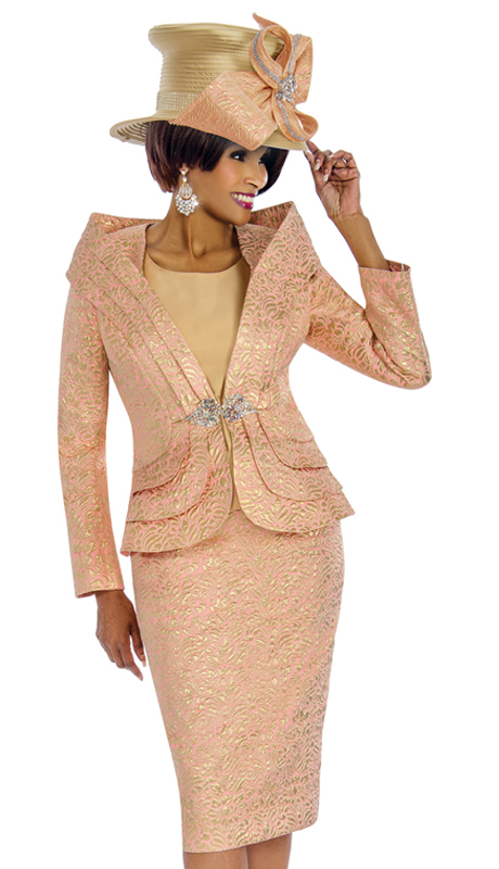 Terramina 7677 ( 3pc Brocade Church Suit With Rhinestone Buckle )