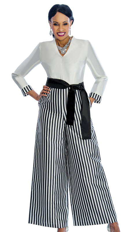 Terramina 7678 ( 1pc Silk Jump Suit With Belted Front And Stripe Look )