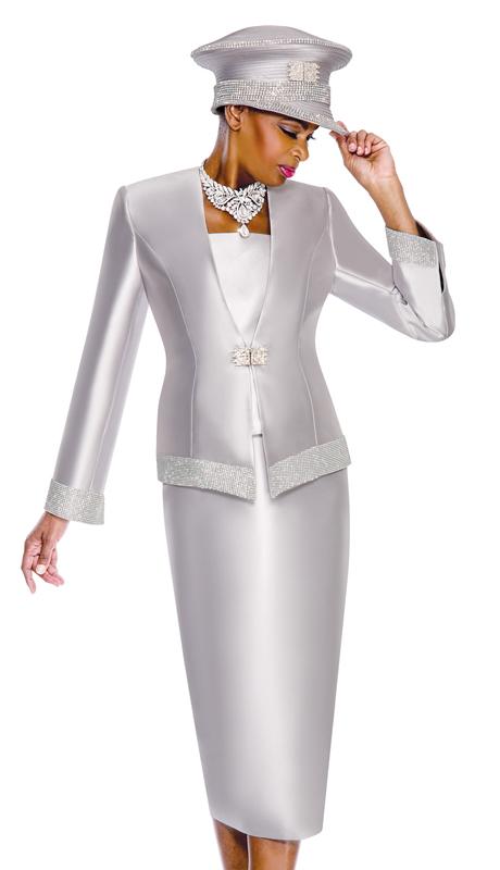 Terramina 7604-S ( 3pc Silk Ladies Suit With Rhinestone Trim )
