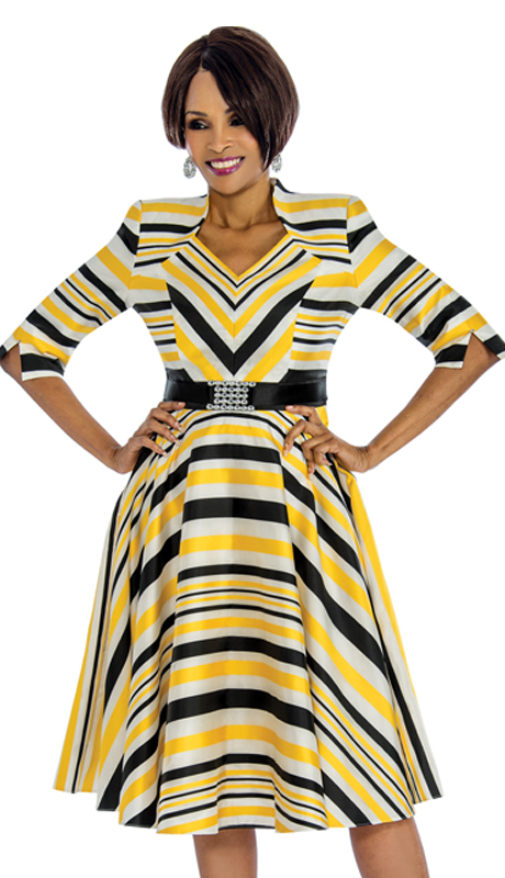 Terramina 7608-Y ( 1pc Dress For Church In Standout Pattern )