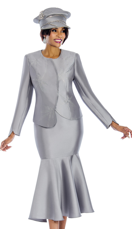 Terramina 7633 ( 2pc Silk Womens Suit With Rhinestone Trims And Trumpet Skirt )