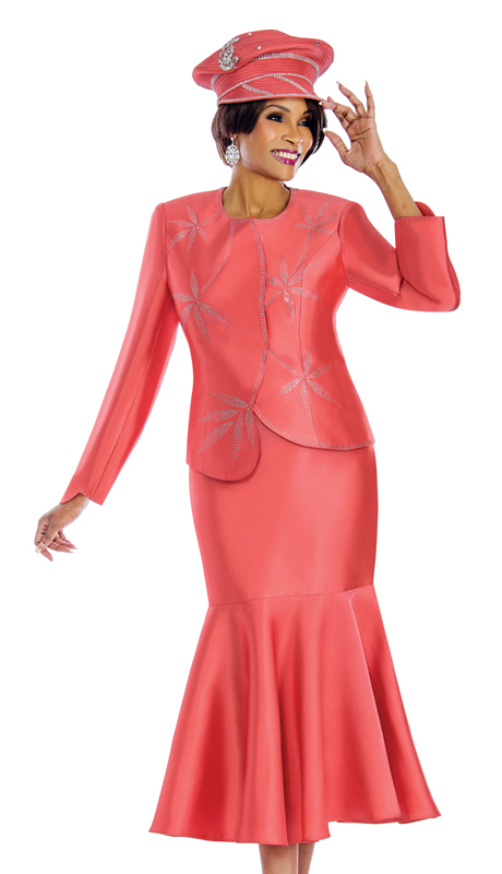 Terramina 7633-P ( 2pc Silk Womens Suit With Rhinestone Trims And Trumpet Skirt )