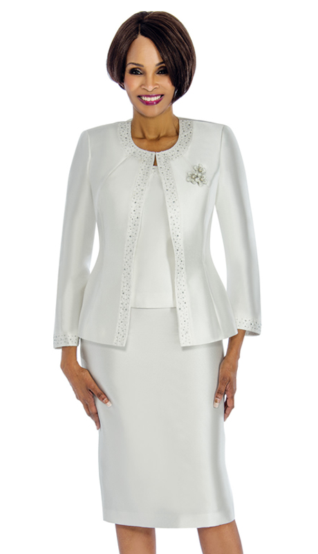 Terramina 7637-W ( 3pc Silk Church Suit With Fancy Broach )