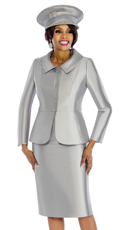 Terramina 7651-S ( 2pc Silk Suit For Church With Rhinestone Trims )