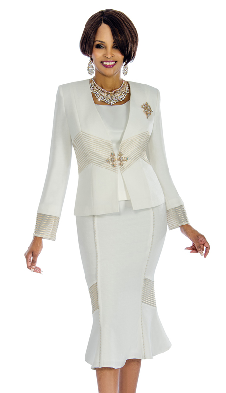 Terramina 7653 ( 3pc Shantung Ladies Church Suit With Ornate Broach And Fancy Trim )