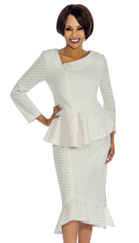 Terramina 7657-IH-IG ( 2pc Knit Womens Suit For Sunday With Full Embroidery )