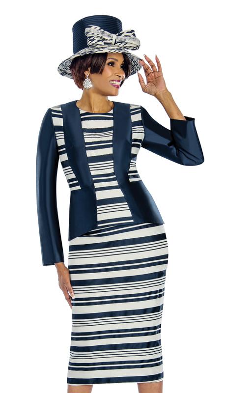 Terramina 7665 ( 3pc Stripe Pattern Silk Church Suit )