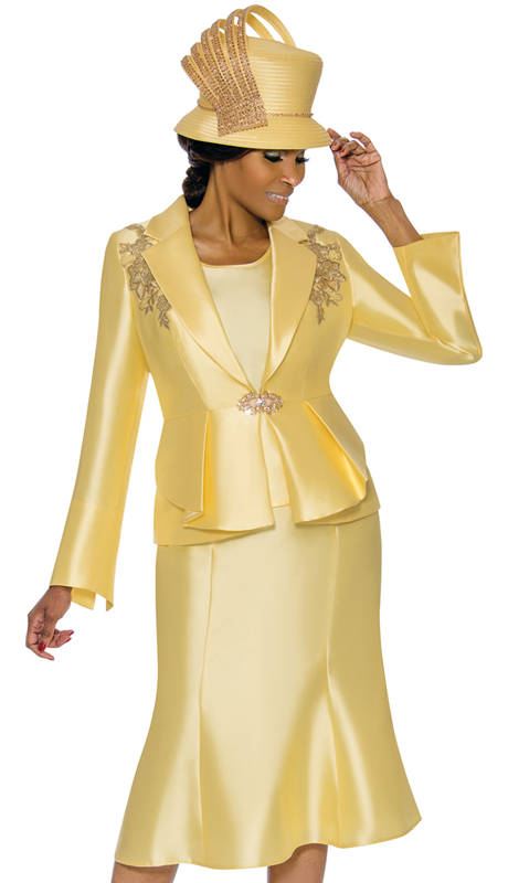 Terramina 7741-CA ( 3pc Silk Look Womens Sunday Suit )