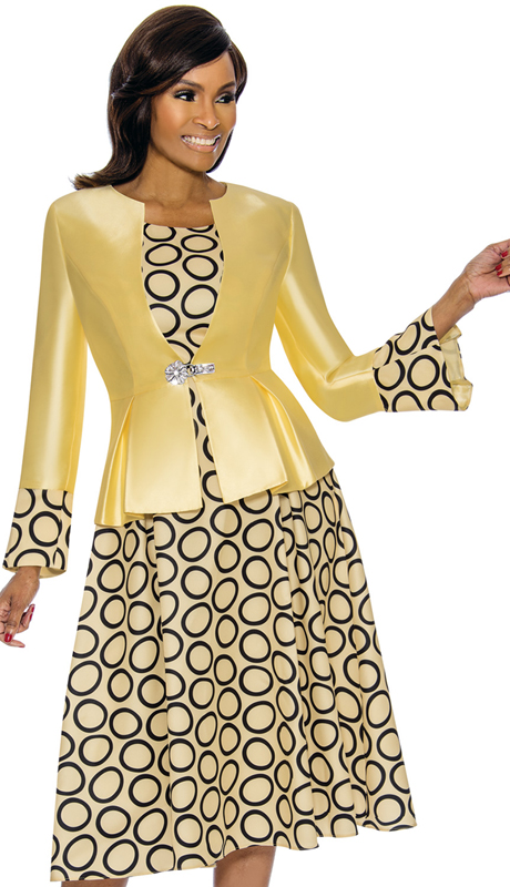 Terramina 7740-YE ( 2pc Silk Look Church Dress And Jacket )