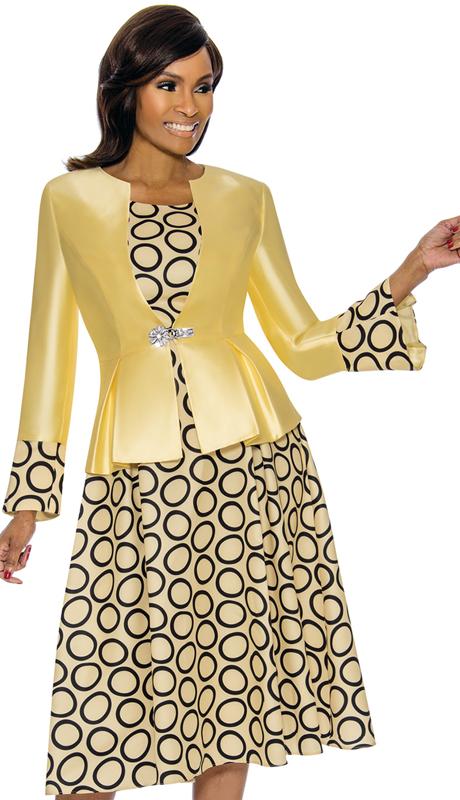 Terramina 7740-YE ( 2pc Silk Look Church Dress And Jacket )