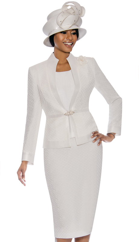 Terramina 7739-WH ( 3pc Brocade Womens Sunday Suit )