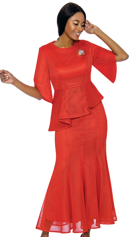 Terramina 7737-OR ( 2pc Novelty Ladies Church Suit )