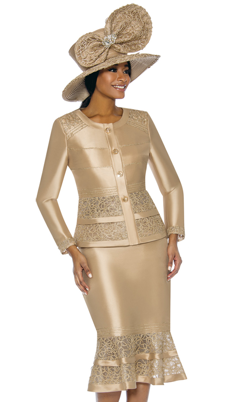 Terramina 7736-GO ( 2pc Silk Look Ladies Church Suit With Embroidery )