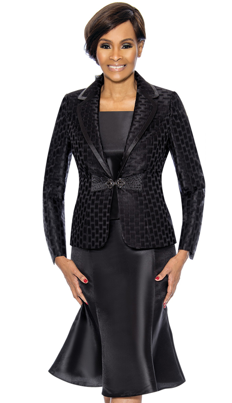 Terramina 7734-Black ( 3pc Silk Look With Novelty Church Suit )