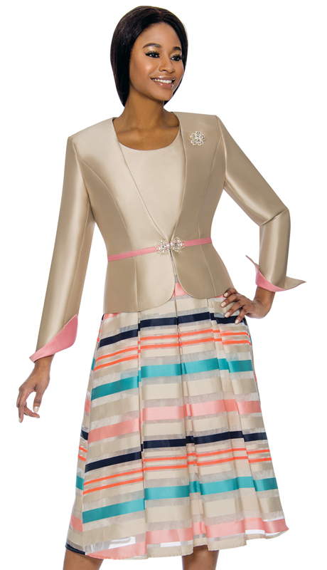 Terramina 7733-CM ( 2pc Silk Look With Novelty Ladies Dress Suit For Church )
