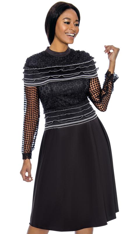 Terramina 7732-BK-CO ( 1pc PeachSkin Womens Church Dress With Lace )