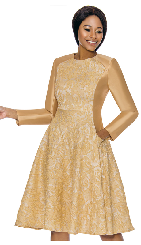 Terramina 7729-GO ( 2pc Silk Look With Novelty Ladies Dress For Church )