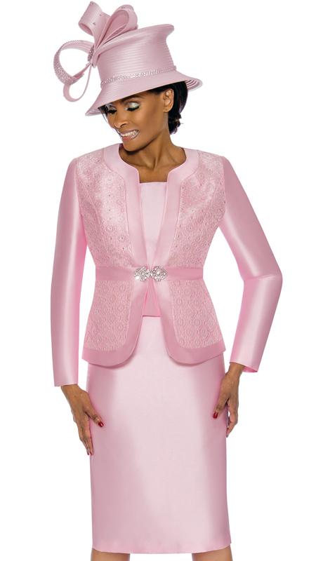 Terramina 7726-PI ( 3pc Silk Look Womens Sunday Suit With Brocade )