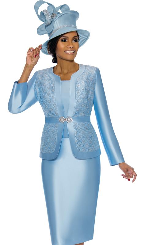 Terramina 7726-BB-CO ( 3pc Silk Look Womens Sunday Suit With Brocade )