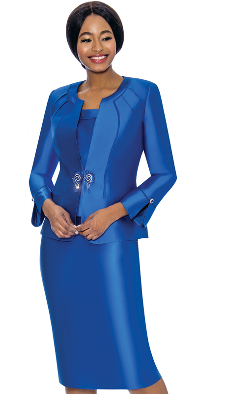 Terramina 7725-RO ( 3pc Silk Look Womens Sunday Suit )