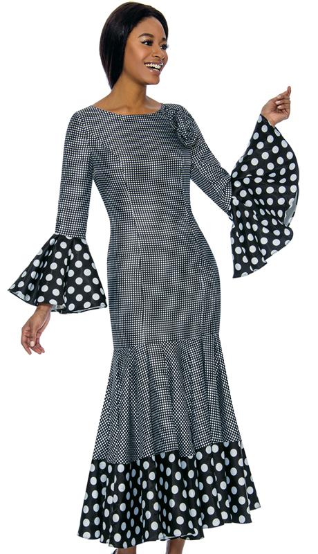 Terramina 7724-BW ( 1pc Novelty Church Dress )