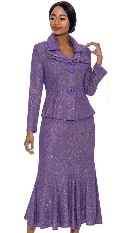 Terramina 7723-PU ( 2pc Shimmer Knit Ladies Church Suit )