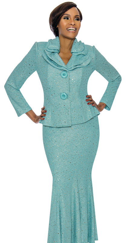 Terramina 7723-TB ( 2pc Shimmer Knit Ladies Church Suit )