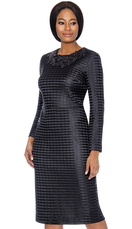 Terramina 7714-BK ( 2pc Lace Womens Sunday Dress With Cape )
