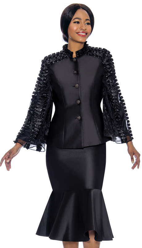 Terramina 7712-BK ( 2pc Silk Look With Organza Ladies Church Suit With Flounce Skirt And Angel Sleeve Jacket )