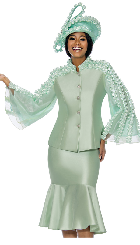 Terramina 7712-MI ( 2pc Silk Look With Organza Ladies Church Suit With Flounce Skirt And Angel Sleeve Jacket )