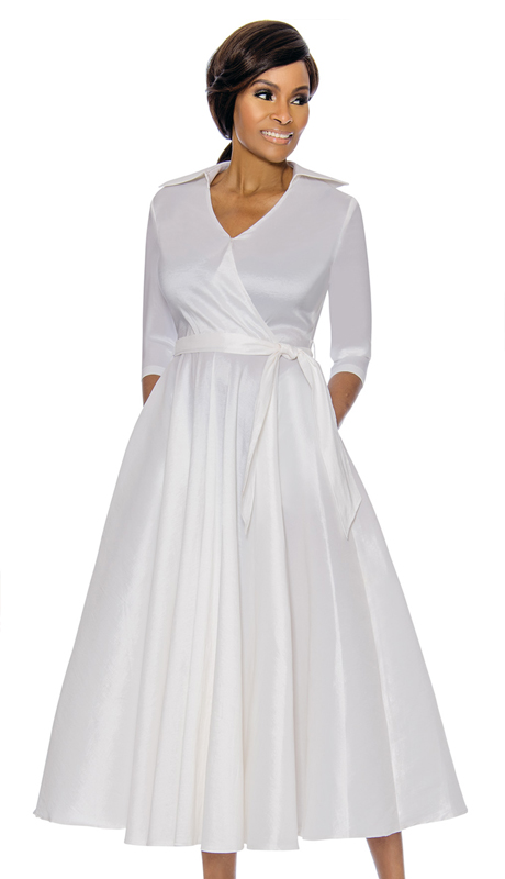 Terramina 7698-WH ( 1pc Silk Look Womens Church Dress With Sash )