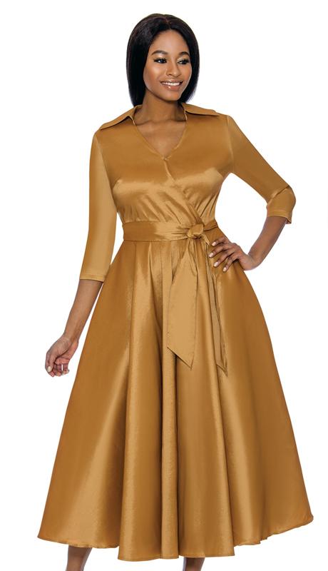 Terramina 7698-CO ( 1pc Silk Look Womens Church Dress With Sash )