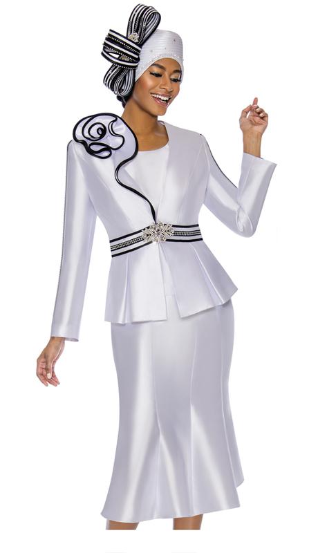 Terramina 7747-WH ( 3pc Silk Look Womens Sunday Suit )