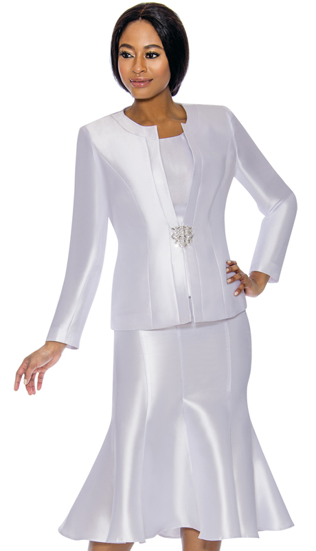 Terramina 7689-PE ( 3pc Silk Look Womens Suit For Church With Flared Skirt )