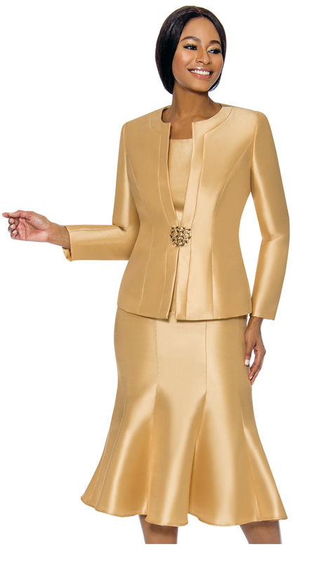 Terramina 7689-GO ( 3pc Silk Look Womens Suit For Church With Flared Skirt )