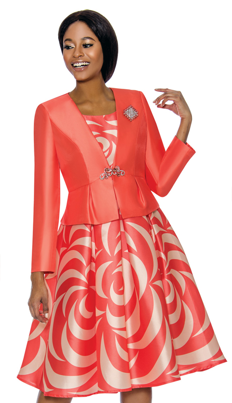 Terramina 7672-CO ( 2pc Silk Look With Novelty Church Dress And Jacket )