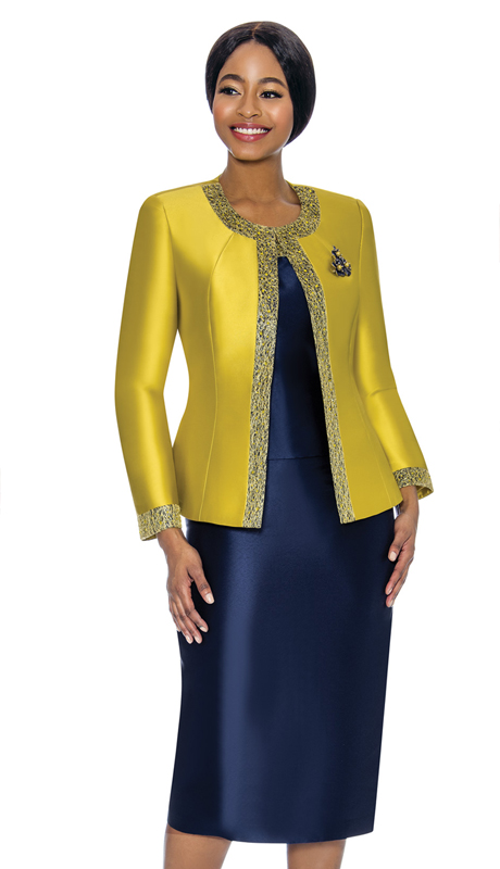 Terramina 7637-BK ( 3pc Silk Look Womens Sunday Suit With Pattern Trim Design And Brooch )