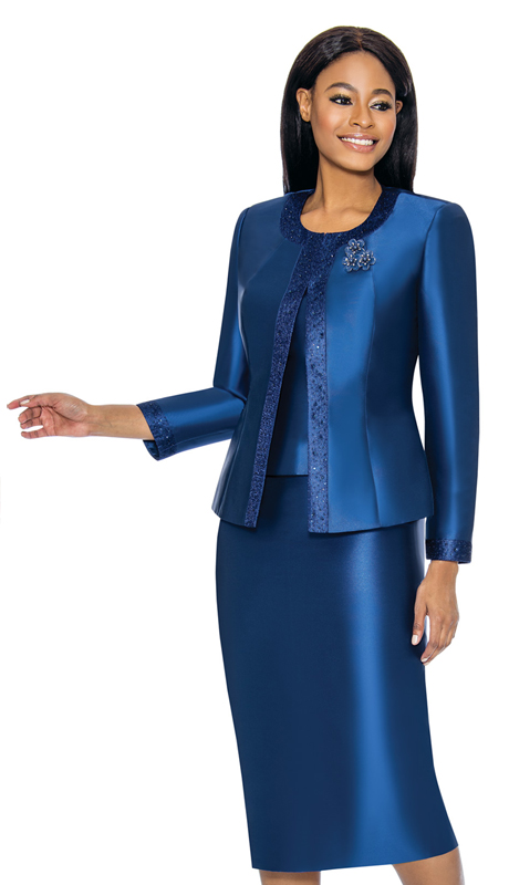 Terramina 7637-NA ( 3pc Silk Look Womens Sunday Suit With Pattern Trim Design And Brooch )