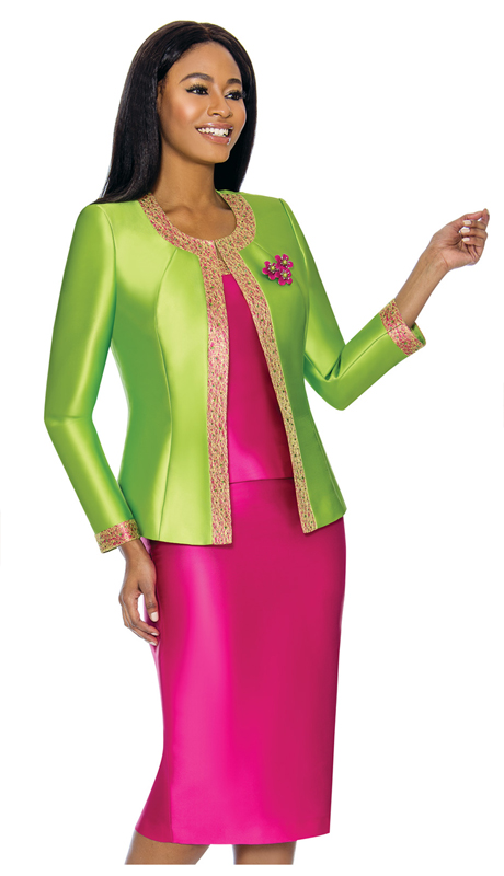 Terramina 7637-LF ( 3pc Silk Look Womens Sunday Suit With Pattern Trim Design And Brooch )